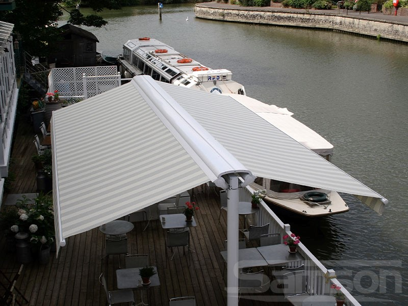 Waters Edge Butterfly Awning Installation