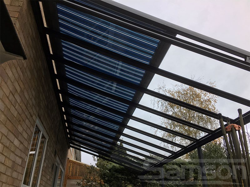 Glass Roof with Under Glass Awnings Installation