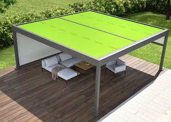 Stand alone pergola system with electric retractable fabric roof