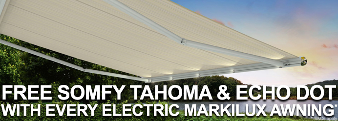 Free Somfy Tahoma and Echo Dot with every electric Markilux Awning