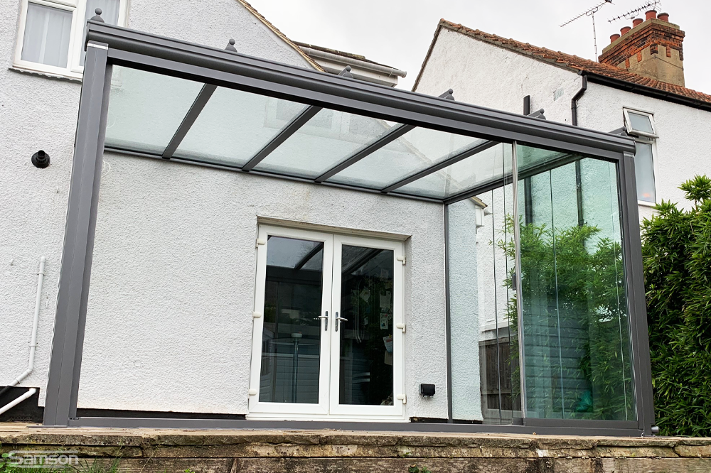 Garden Glassroom with Sliding Glass Doors Open
