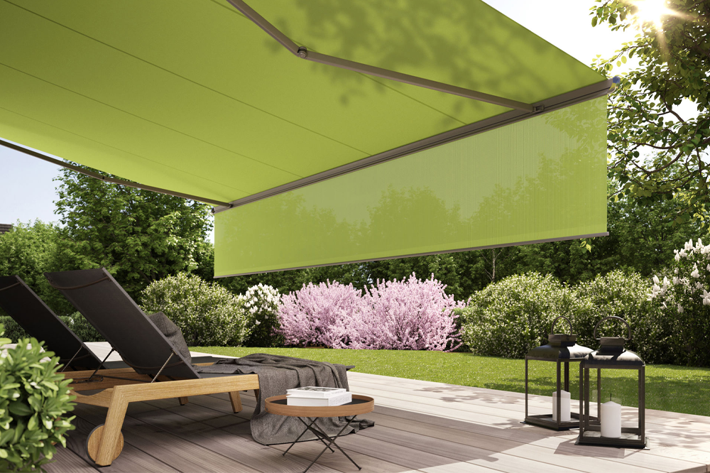 Green Retractable Awning for Decking Area