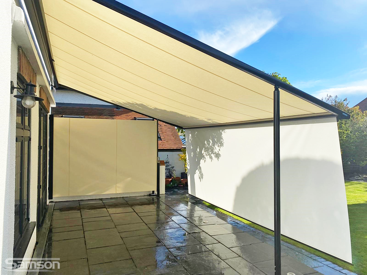 Markilux Pergola 110 with Drop-Down Valance and 790 Side Screen