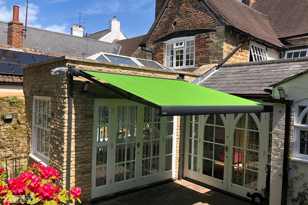 Small, Green Markilux Retractable Awning