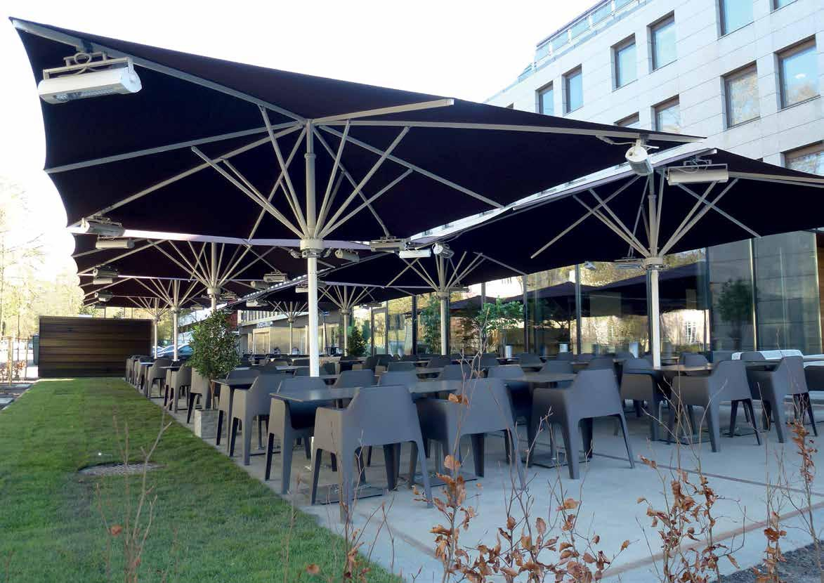 Blue May Umbrellas with Heaters for Outdoor Dining Space