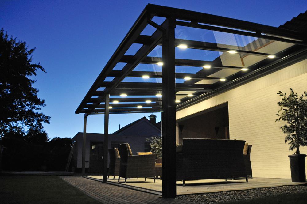 Glass Veranda with Lighting