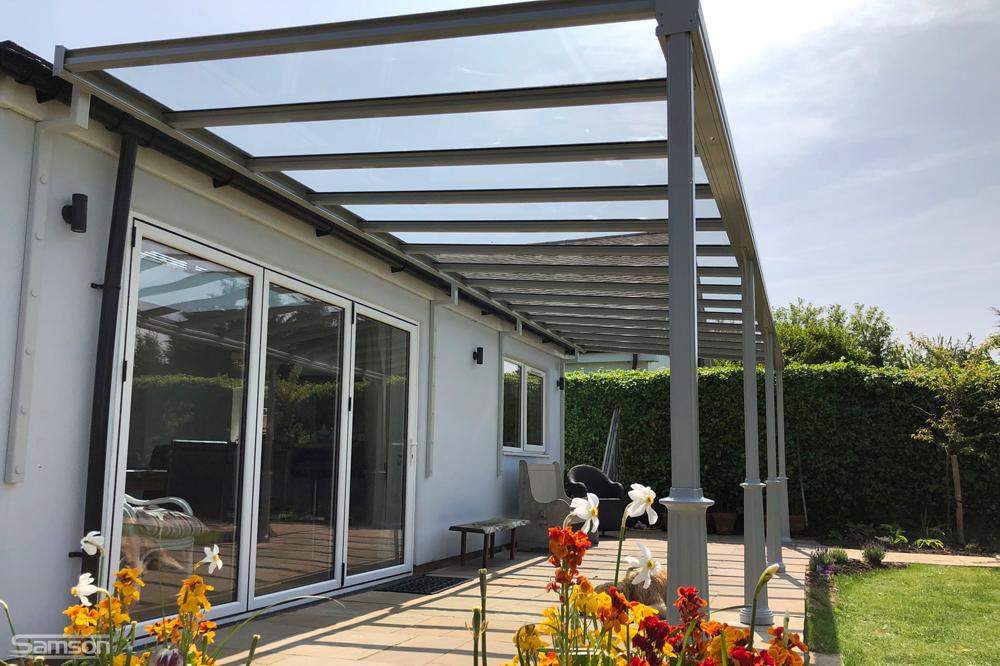 Grey Framed Glass Veranda for Domestic Patio Area