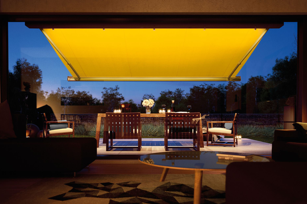Yellow Retractable Awning in Evening