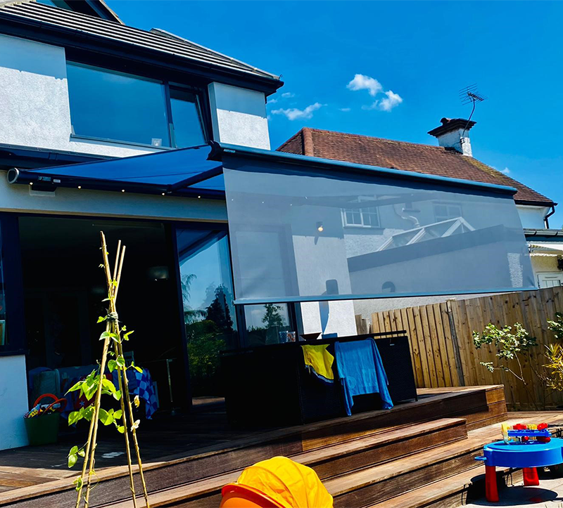 Retractable Awning with LED Lights and Drop-Down Valance