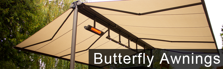 Cream butterfly awning